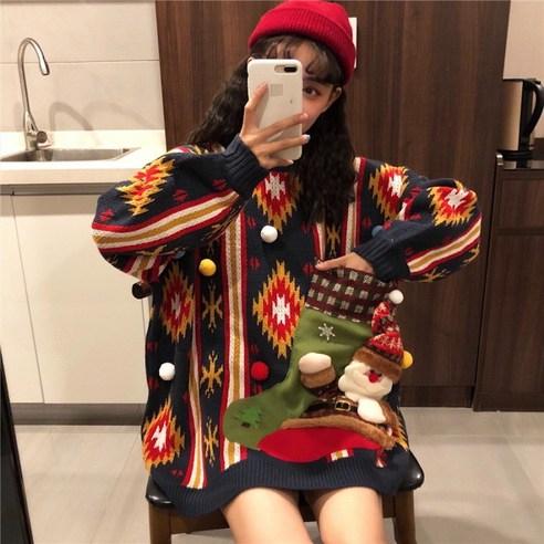 KS 레드 겨울 귀여운 니트 티셔츠 크리스마스 여성 패션 캐릭터 4670