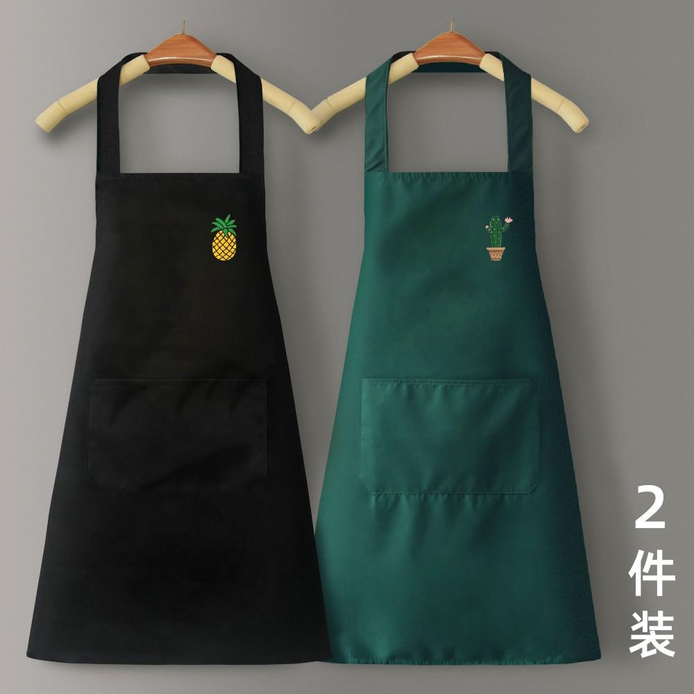 앞치마 가정용 주방 방수 방유 남녀 작업복 패치 로고 레터링 귀여운 일본 스타일, 블랙 파인애플+알록 선인장 2종 세트 (POP 5710550539)