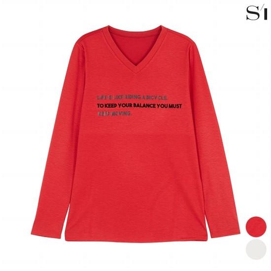 씨 브이넥 레터링 레이온 혼방 티셔츠 (SXIBC2806)_A4L2