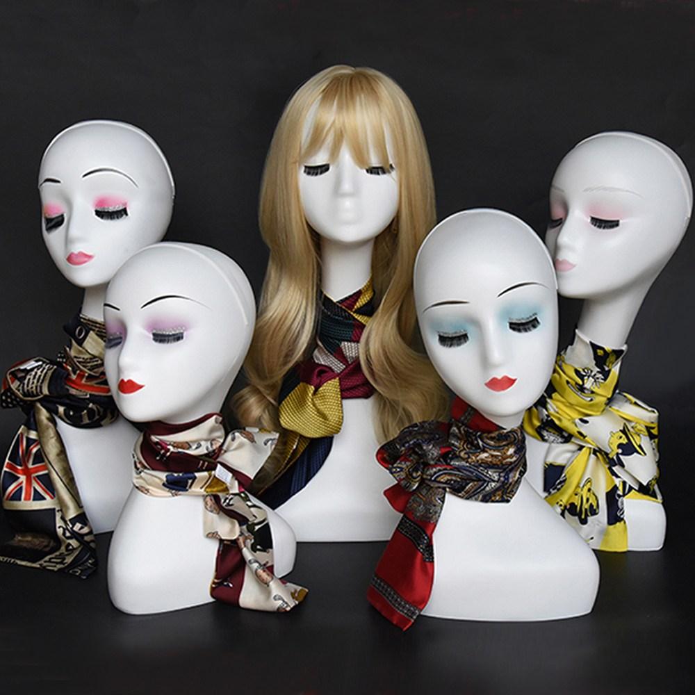 mannequin 얼굴마네킹 두상 매장 마네킹 옷가계 여자 마네킨 스카프 모자마네킹, 1개, 모델C-핑크눈화장모델