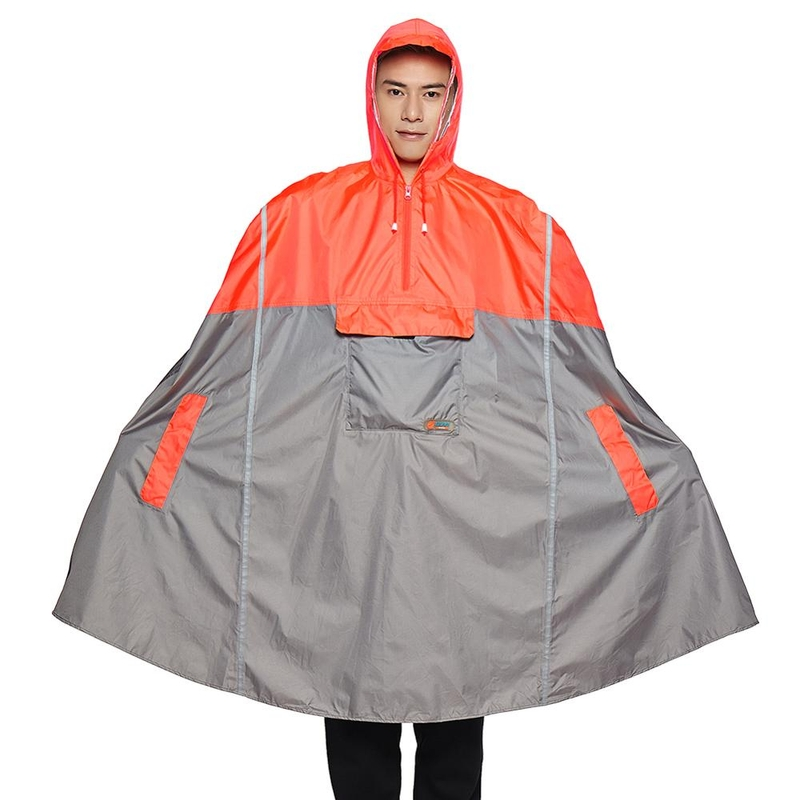 비옷 우의 레인코트 Qian 휴대용 남성과 여성의 야외 판초 배낭 반사 디자인 자전거 등산 여행 커버, 노랑, 한 사이즈