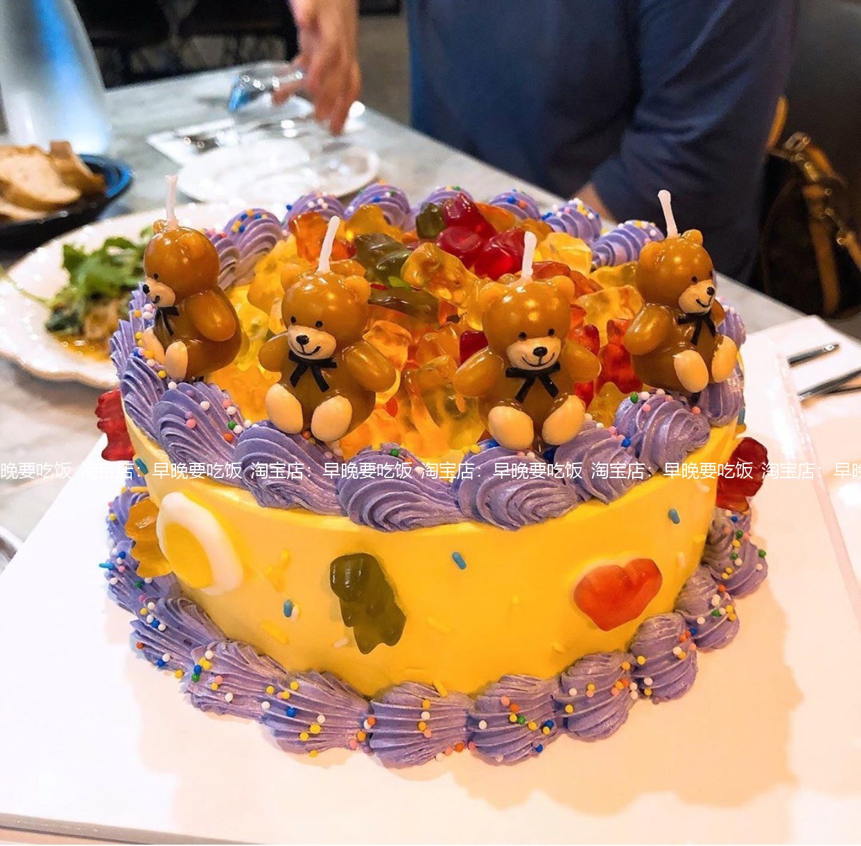 곰돌이 초 9개세트 주문케이크 장식 캐릭터 양초 생일 이벤트용품 캔들, 갈색 곰 9마리개, 1