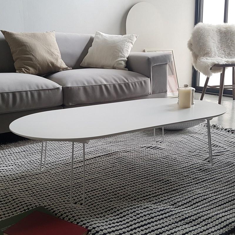 라움 화이트 엔젤 접이식 소파 테이블, 접이식화이트소파T(타원)