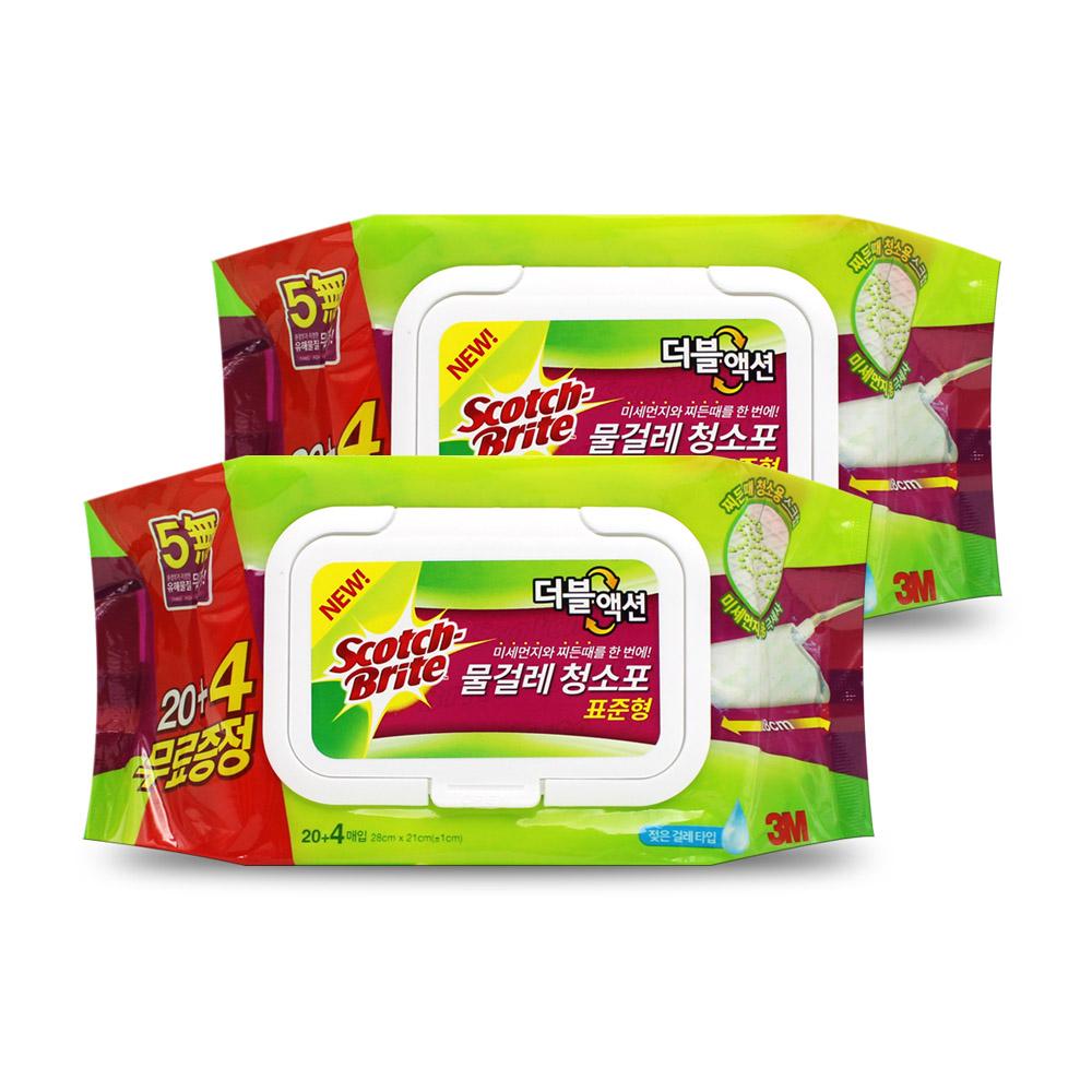 3M 더블액션 물걸레 청소포 표준형 24매 x 2개, 단품