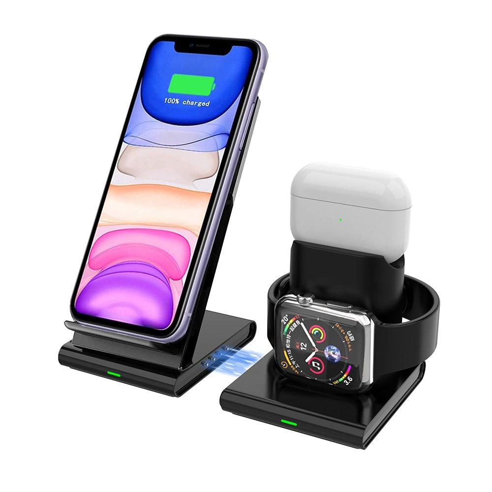 Clever 아이폰 애플워치 에어팟 3in 1 고속 무선 충전기 무선충전기, 블랙