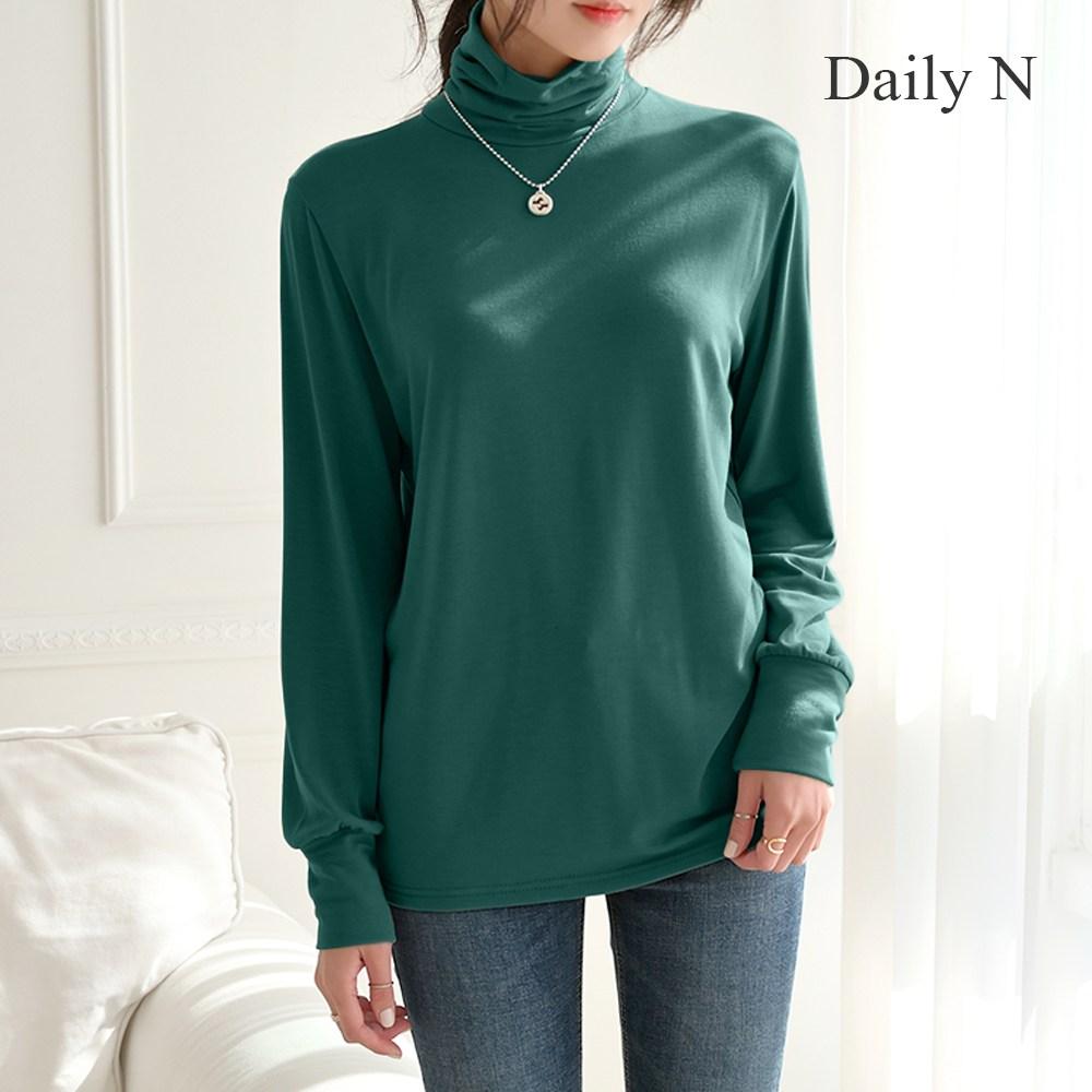 데일리앤 블렌드 여성 기모 셔링 목폴라 루즈핏 티셔츠