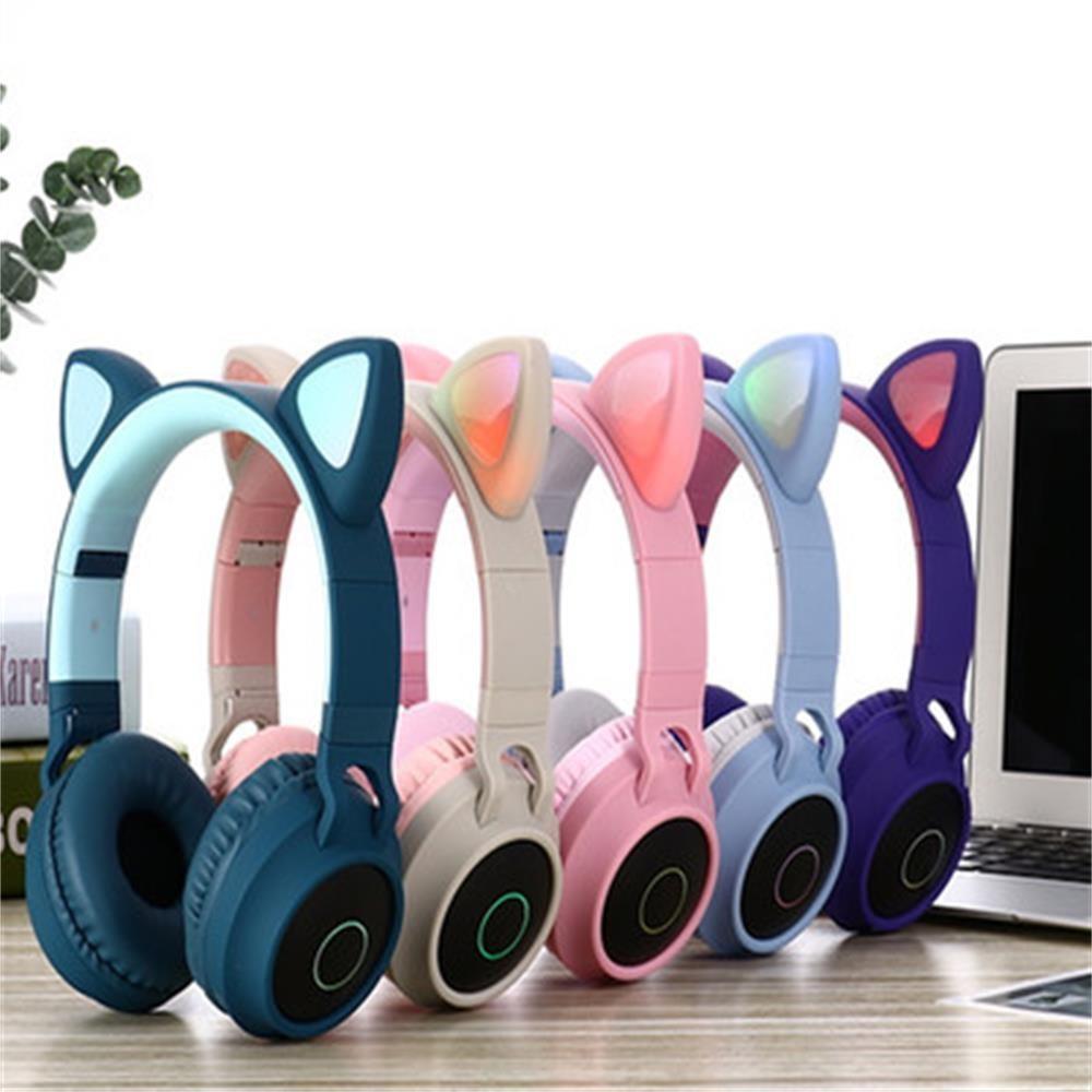 유쉬터 LED 고양이 귀 디자인 블루투스 헤드셋 H0215, 5.0 블루투스, 핑크