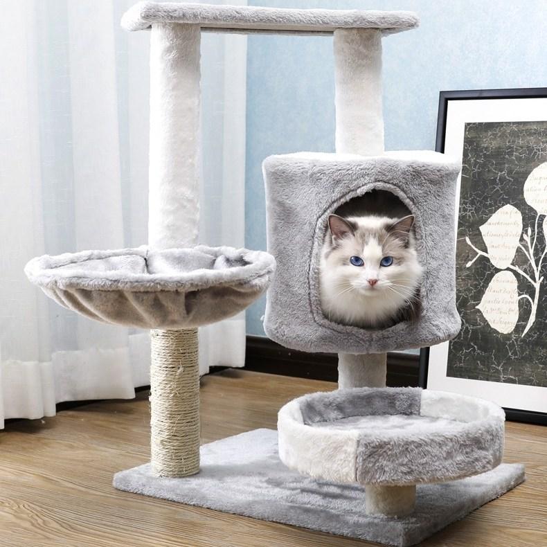 미래물 애완동물 소형 다층 고양이 캣타워 별장ZZW, 1개, AA40*60*75CM