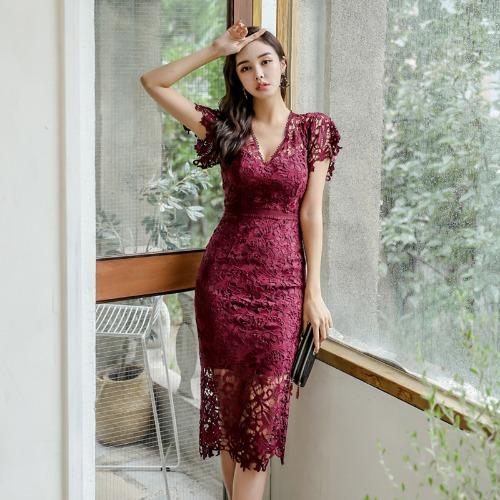 ZHIMIAO 분위기 레이스 스커트 2020 봄 OL 패션 브이넥 반팔 슬림 미디 원피스LLB060570