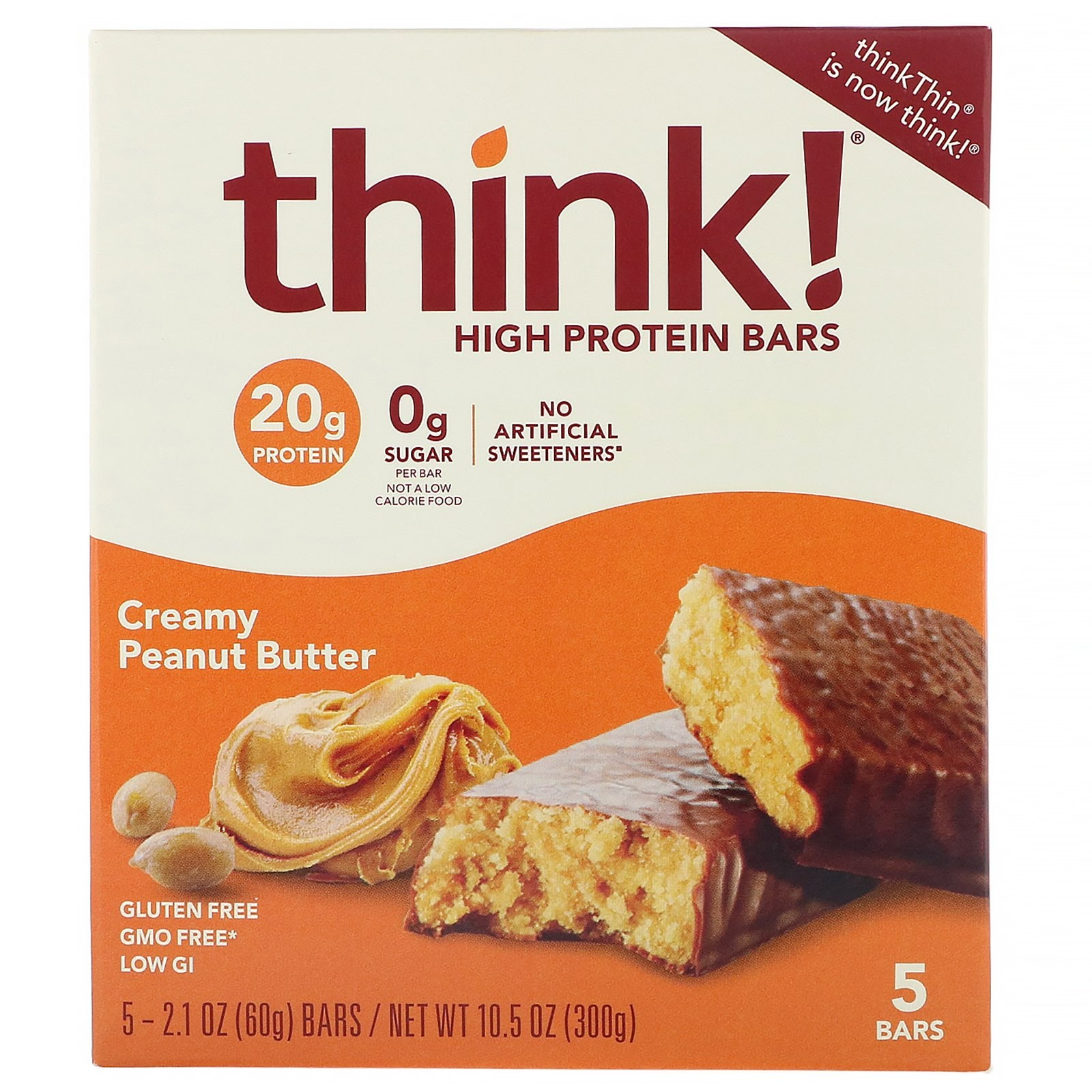 씽크씬 고단백질 바 크리미 땅콩 버터 5개 1 각 60g 프로틴바, 1개, -