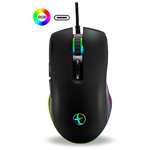 게이밍마우스 Huifen USB Type C Wired Gaming Mouse Ergonomic 4 RGB Backlit Gaming Mice Office Business Computer Mouse 3200 DPI for Laptop Notebook Compa, 본문참고, Color = Black