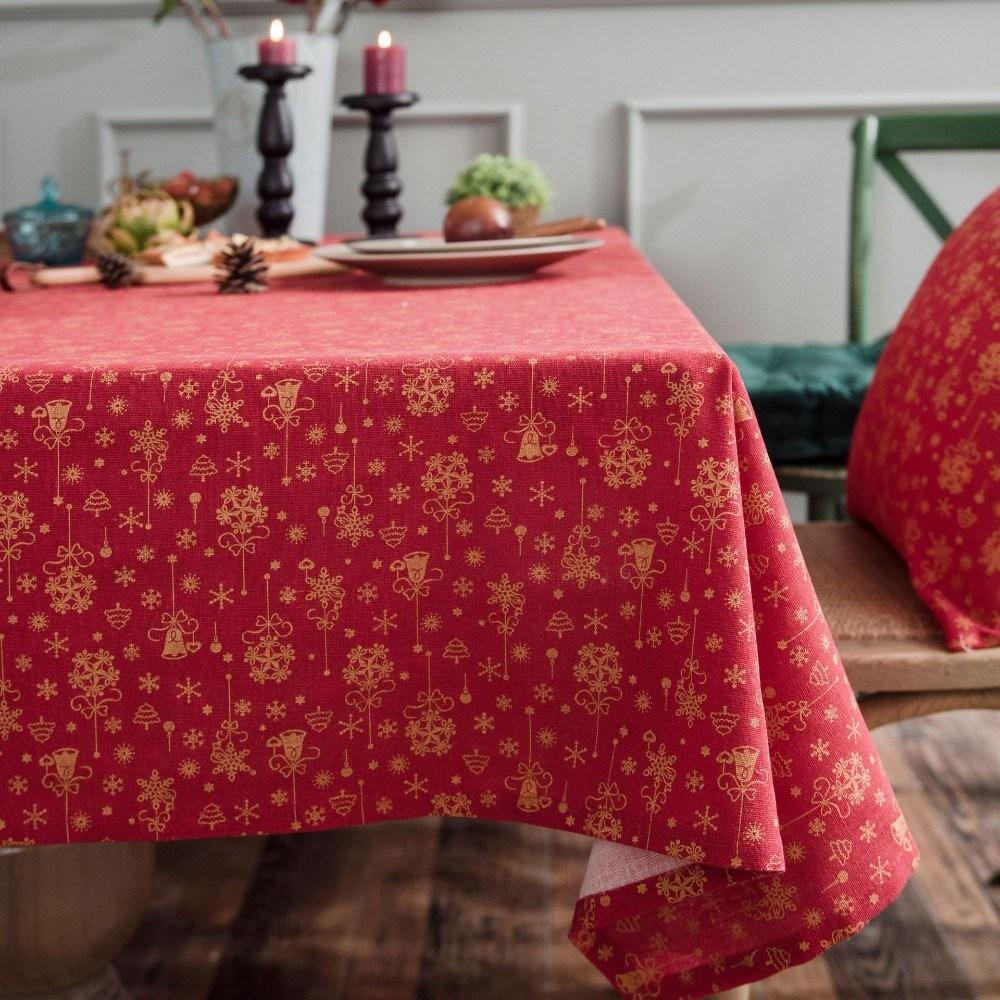 이쁜 크리스마스 식탁보 성탄절 테이블보 야마식탁보, 140x200, 레드 브론 징