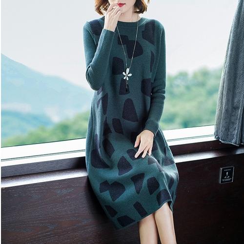 HQINT G946 중년 여성 니트원피스 라운드넥 일자핏 가을겨울 엄마원피스