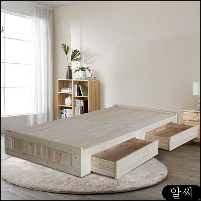 페이지 소나무원목 B타입 평상형 침대프레임SS+서랍2P SS침대 나무침대 xejc, RCMK 본상품선택