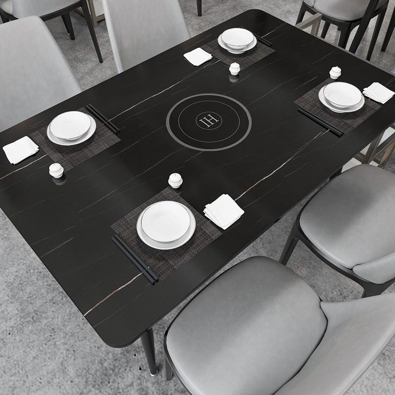 가정용 불판 테이블 모던 블랙 화이트 샤브샤브 고기 바비큐, 120 x 60 x75CM 블랙_관부가세 제외