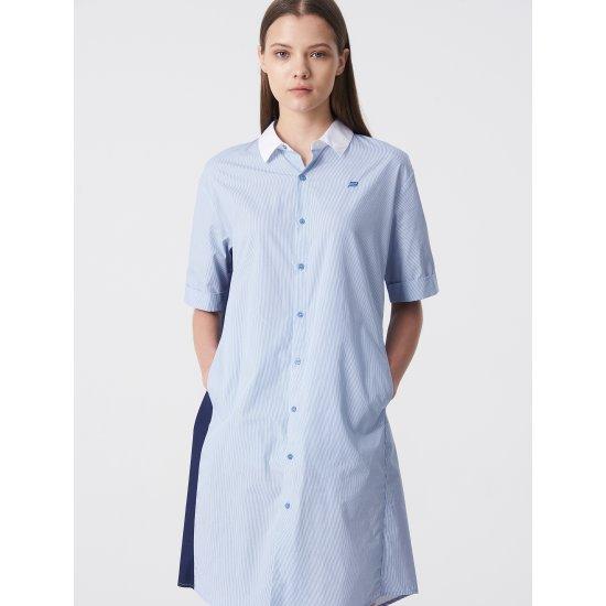 빈폴스포츠 스카이 블루 스트라이프 배색 아우터형 롱 셔츠 (BO9365C02Q)
