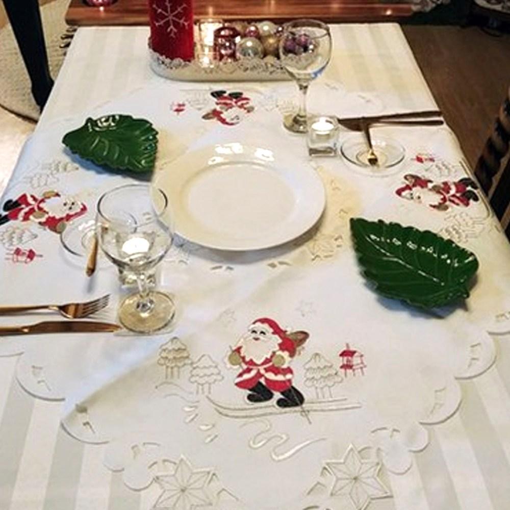 크리스마스 자수 테이블보 식탁보, 01.산타 화이트 자수 테이블보
