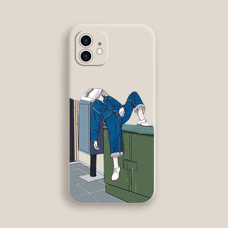 (관부가세포함) 아이폰케이스 11 lazy teenager Apple phone shell liquid silicone sleeve all-inclusive lens pro-620600723572