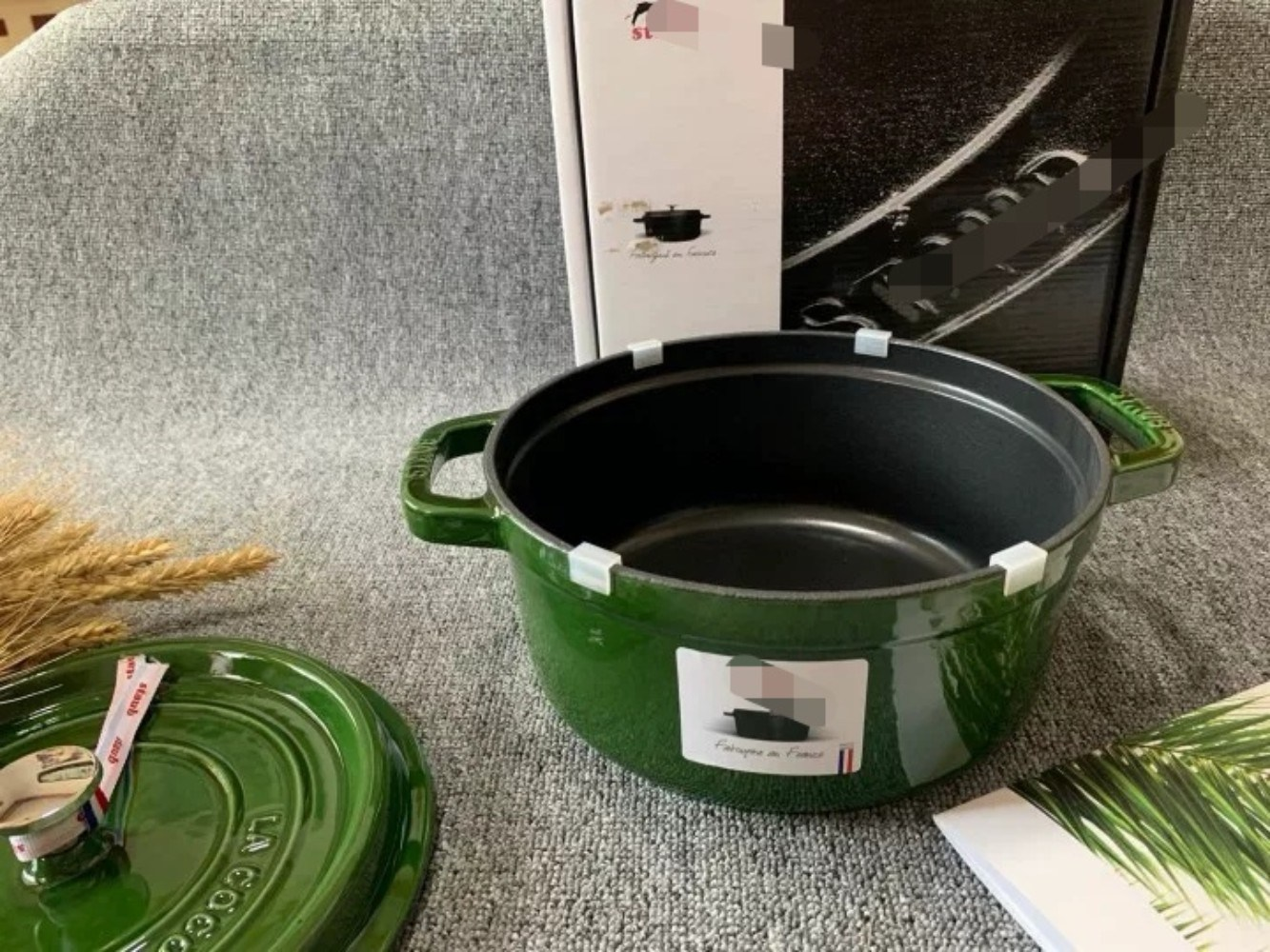 스타우브 르쿠르제냄비 주물냄비 꼬꼬떼 20cm 구이용 찜솥 가정용 주방 법랑 냄비, 녹색