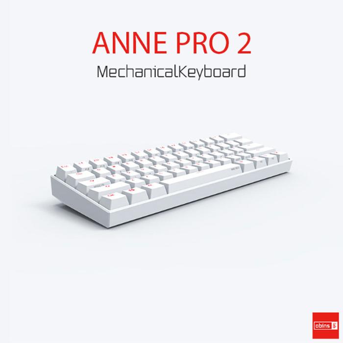 기계식키보드 앤프로2 키보드 ANNE PRO2 기계식 블루투스 무선키보드 RGB 백라이트, 화이트, GATETON_적축