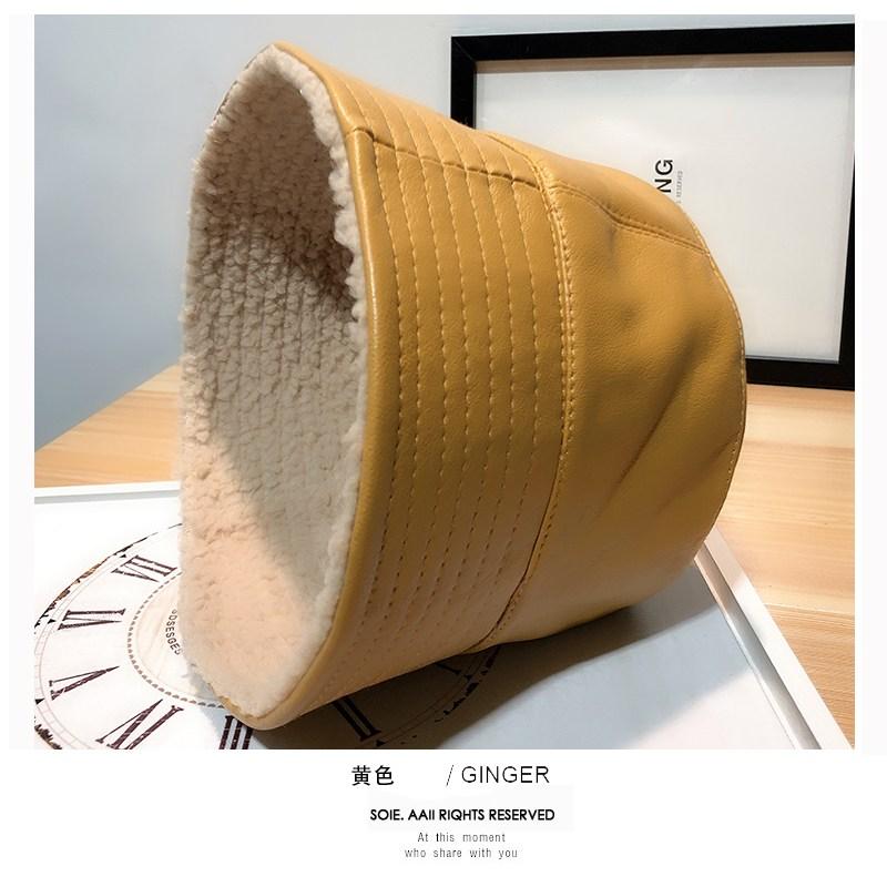 양모 양면 가죽 버킷 모자
