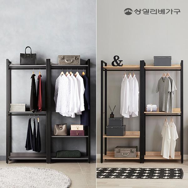 [수도권무배] 상일리베가구 아이언 드레스룸 선반 옷장 1600 행거조합형, 블랙오크