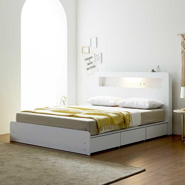 보루네오하우스 프라임 루디 LED 서랍 SS 침대프레임 DM6195, 화이트