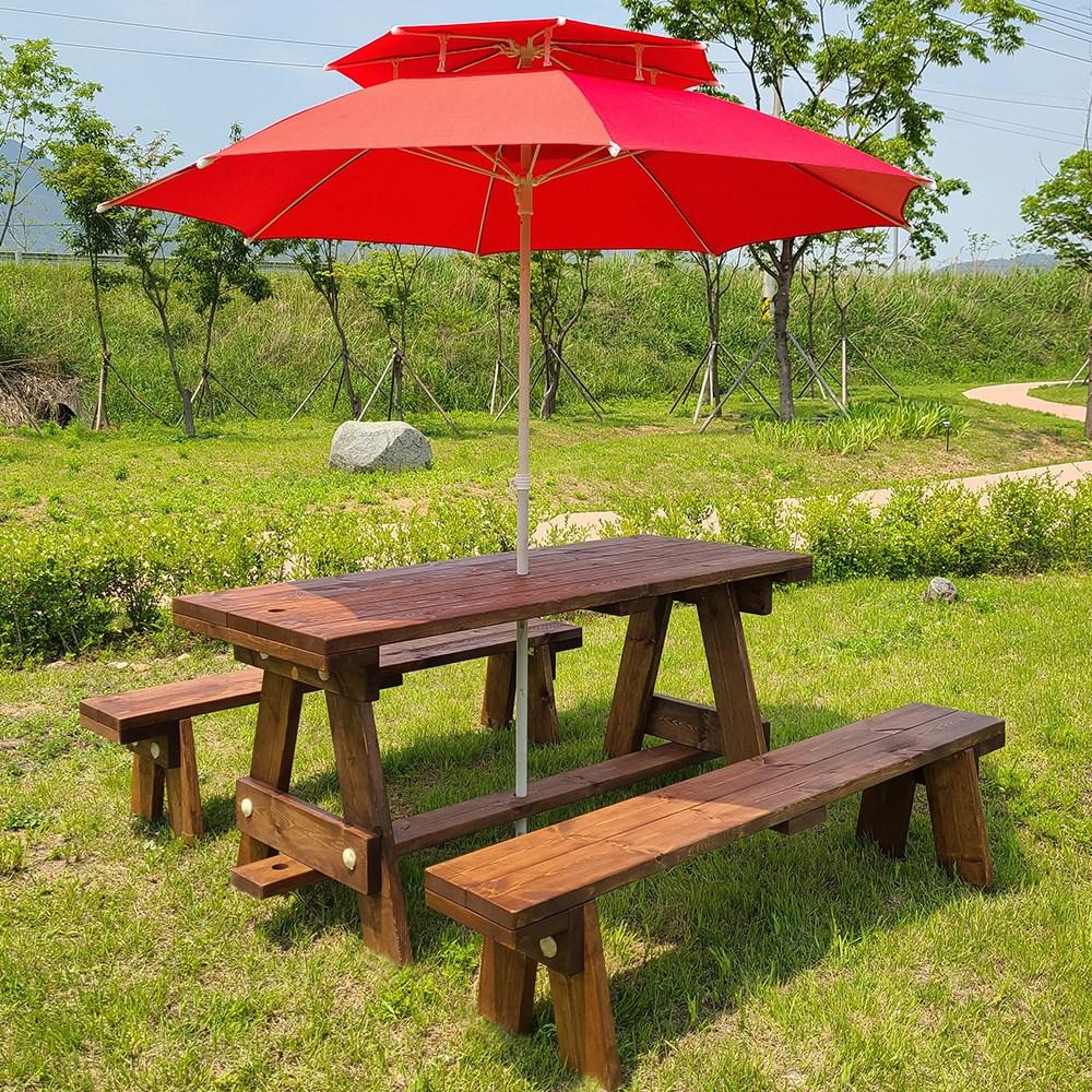 올리브가구 분리형 야외원목테이블 카페테이블 야외평상 바베큐그릴 파라솔 야외테이블세트, 분리형 월넛도색 4인용