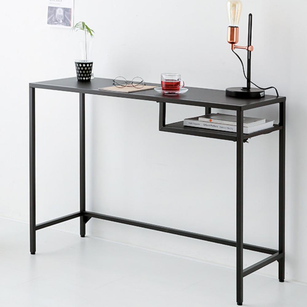 사이드 폭좁은 베란다 테이블 슬림 화장대 좁고 긴 책상 컴퓨터 창가 철제 거실 탁자 사이드테이블, 블랙
