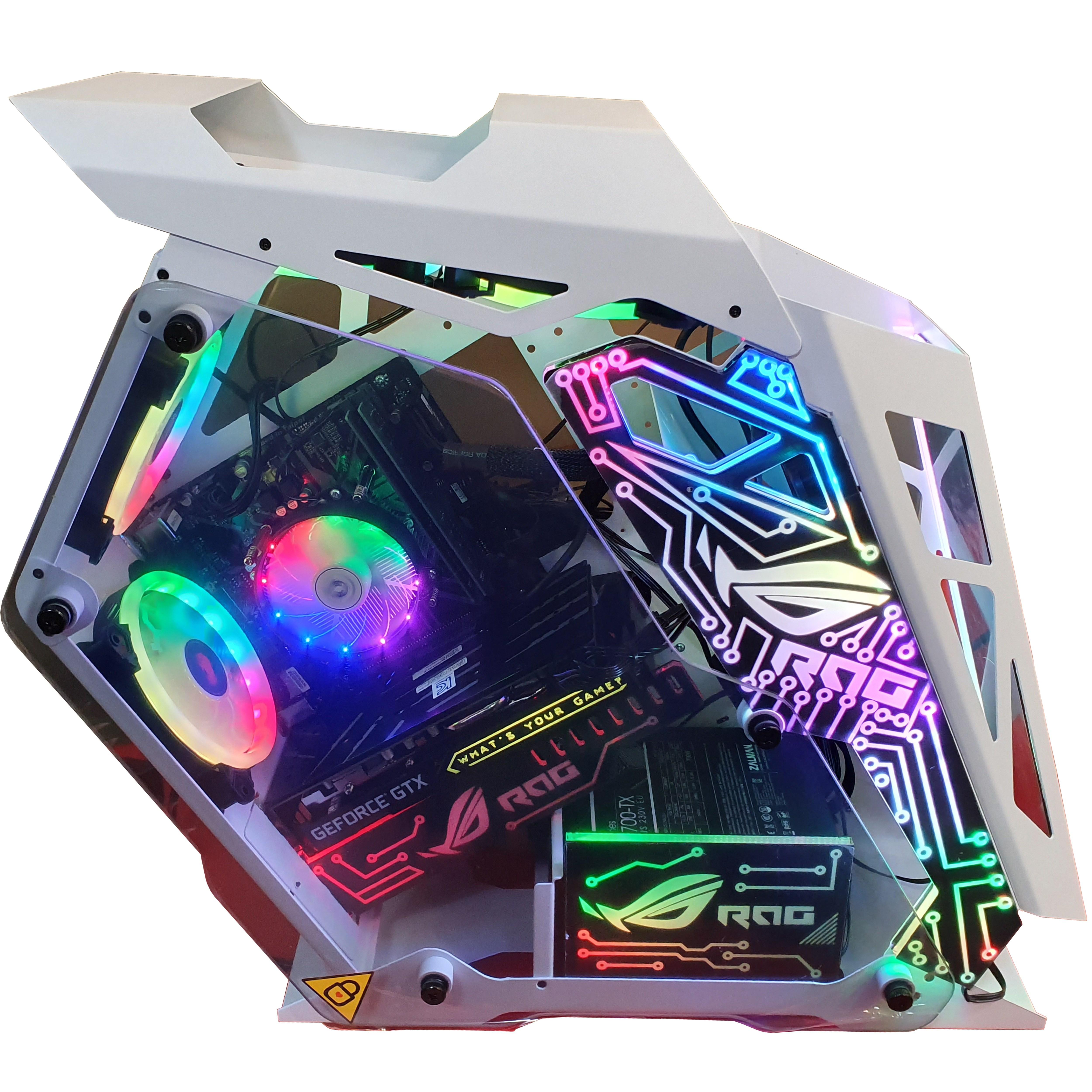 인싸컴 메탈유닛 LED 고사양 게임용pc 배틀그라운드 배그 오버워치 롤 배그컴퓨터, 기본, 화이트