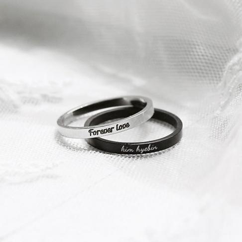 LIKEY [커플링 우정링] 써지컬스틸 2mm 이니셜반지 (글자 이니셜각인가능)