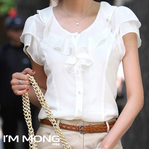 아이엠몽 여성 기본 빅사이즈 라운드넥 프릴 반팔블라우스 민소매 짧은소매 여름블라우스 여름셔츠 시원한 면접블라우스 봄 여름 셔츠 블라우스(BB2215021SY)