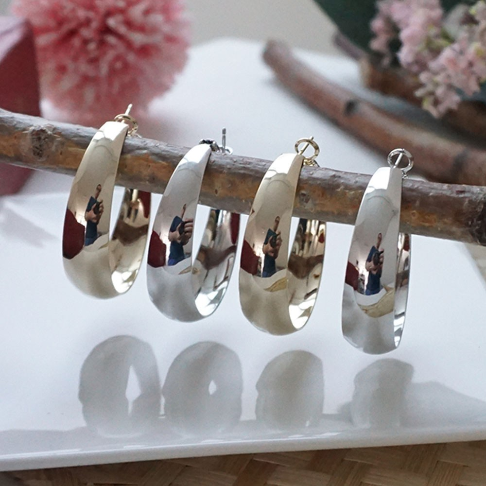 [에피라임] 넓은 커브 링 귀걸이