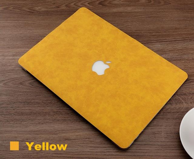 Apple MacBook Pro 및 Air 용 새로운 케이스 커버 11.6 12 13 13.3 15 16 인치 노트북 쉘 스킨 PU 가죽 셀, 10 Yellow_01 16 inchNewPro A2141