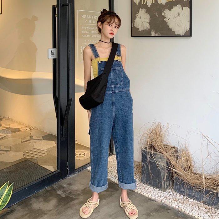 브엘세바 J9901 여성 루즈핏 청 데님 멜빵 바지