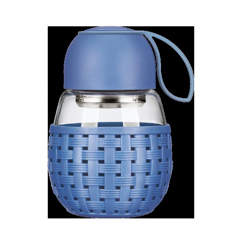 락앤락 단추 휴대 큐트 달걀형 위빙 타입 내열 유리컵 물컵 원형 390MLLLG697, 블루