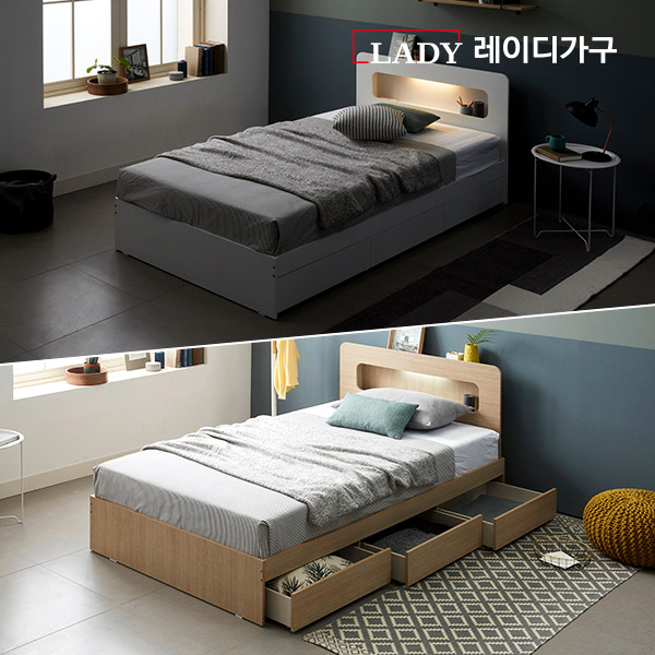 레이디가구 글린 LED 3단서랍 수납 침대 슈퍼싱글 퀸, 오크