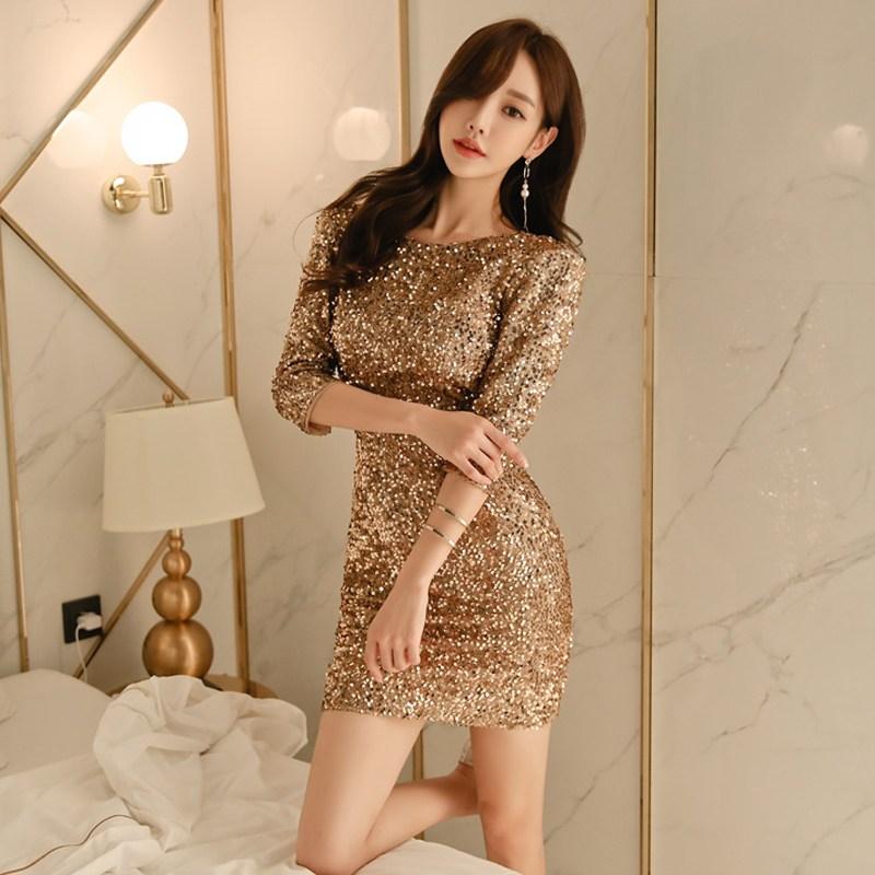 가을옷 여성 셀럽 글리터 드레스 슬림 등트임 칠부 소매 트렌드