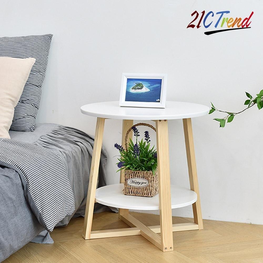 21세기트랜드 원형 2단 다용도테이블 좌탁/티테이블, 화이트
