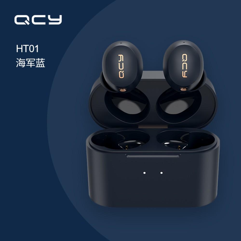 QCY HT01 큐씨와이 블루투스 무선 이어폰 갤럭시 아이폰 노이즈 캔슬링, 기본 + 네이비블루
