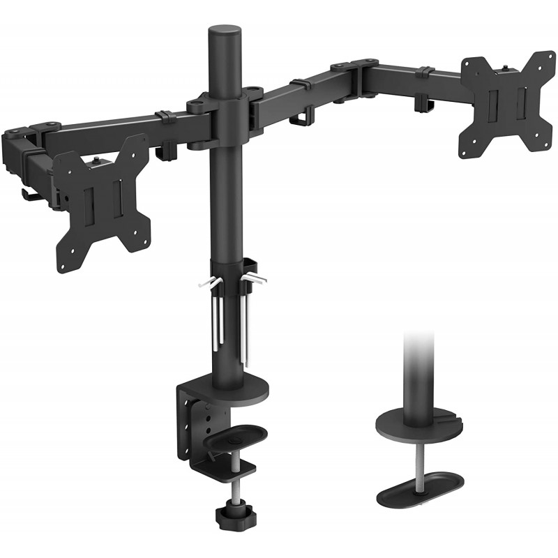 BONTEC 모니터 브래킷 2 모니터 15-30 인치 회전 틸트 형 높이 조절 식 모니터 모니터 대괄호 테이블 모니터 인체 공학 x 8kg, 단일옵션