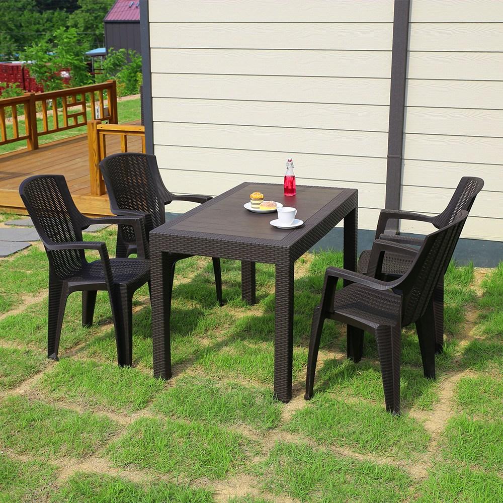 모니카 1200x700 4인 야외 테이블 세트, 테이블1ea+의자4ea