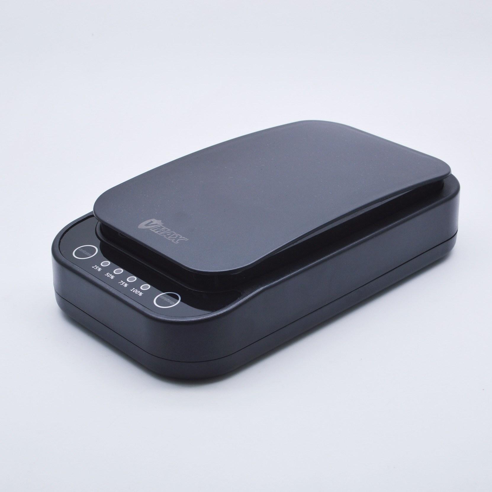 [오흐 살균박스] UV-C 스마트폰살균기 마스크살균기 무선충전 아로마테라피 가능, 1개, 블랙