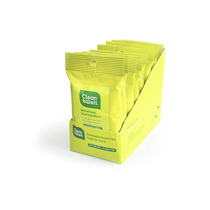 CleanWell Botanical Antibacterial Hand Sanitizing Wipes - Travel Size 10 Count (Pack of 8), One Size