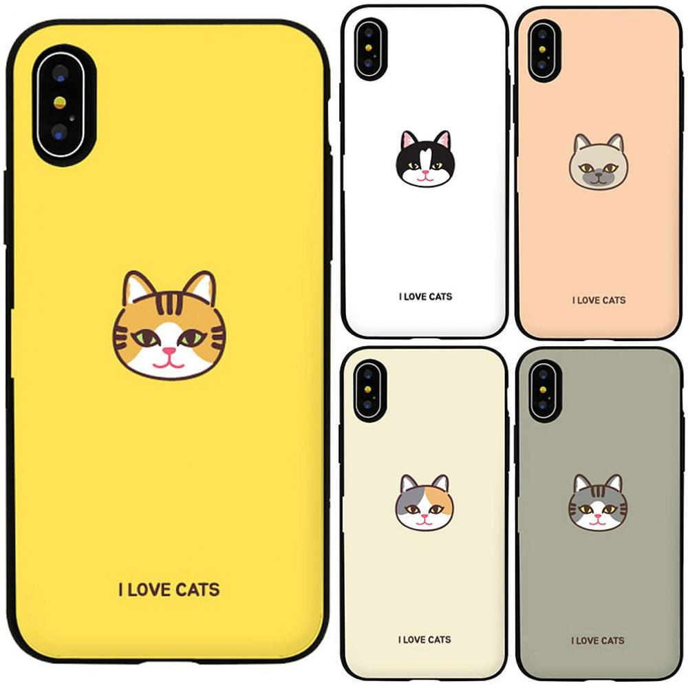 드림뜰힐링팜 아이폰8플러스 캣페이스 카드 범퍼케이스 휴대폰 BAR형 케이스