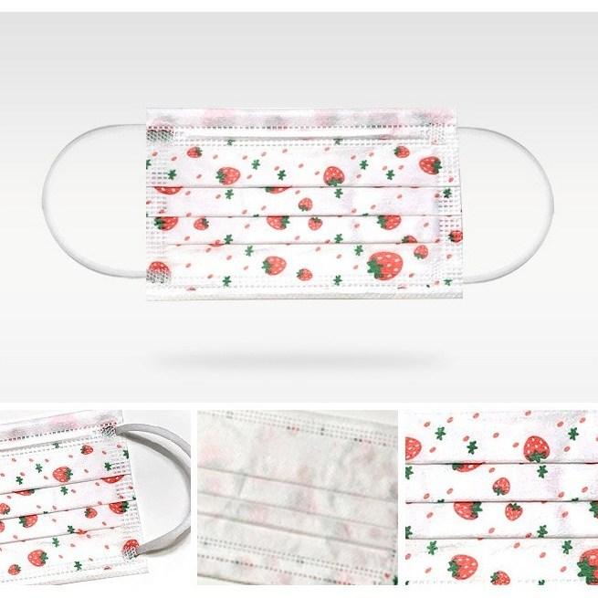 앤조이몰 아동용 드로잉 덴탈 마스크 50매 딸기화이트, 1box, 50개입