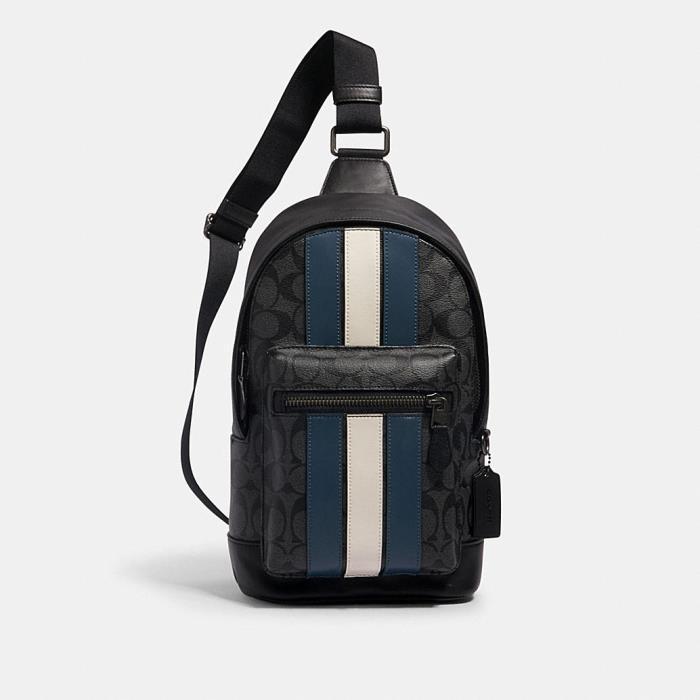 [코치가방]남성가방/메신저백/서류가방West Pack in Signature Canvas With Varsity Stripe