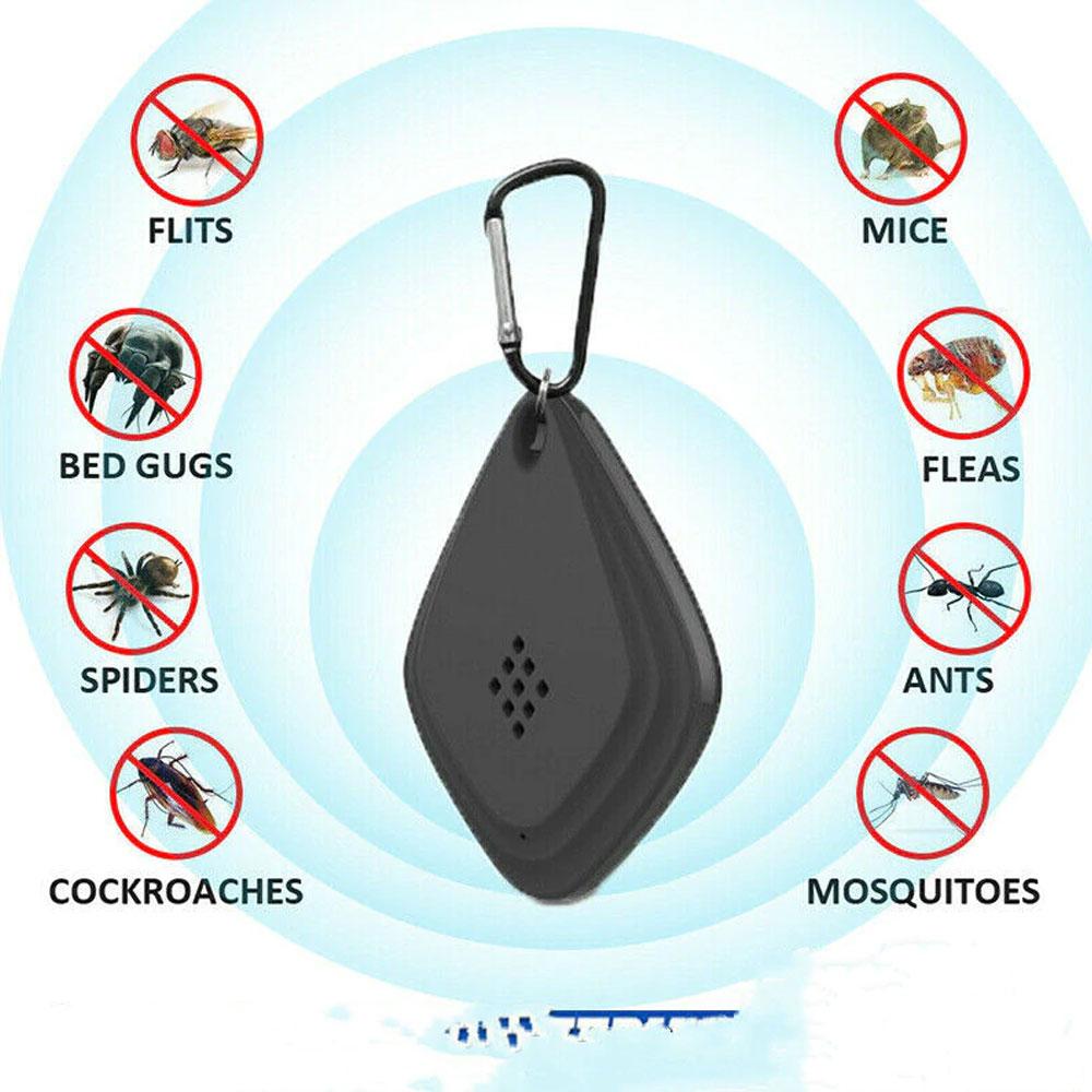 휴대용 미니 초음파 안티 모기 해충 퇴치기, 블랙1+1 (POP 1681503355)