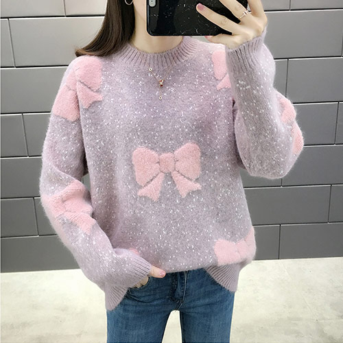 요나걸 여성 니트 스웨터 상의 니트티셔츠 라운드넥 스트레이트 스타일 가을 겨울니트 여자니트