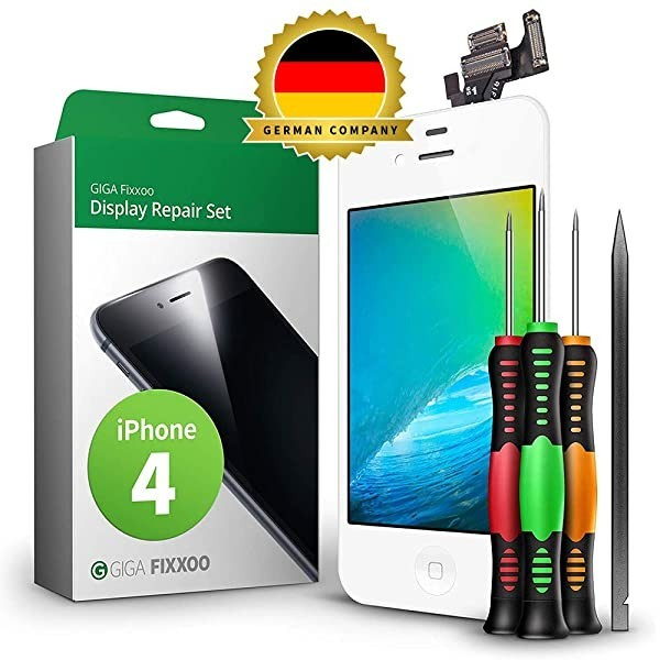 [독일] GIGA Fixxoo Display Set kompatibel mit iPhone 4 Reparaturset Komplett Weiß Ersatz Bildschirm